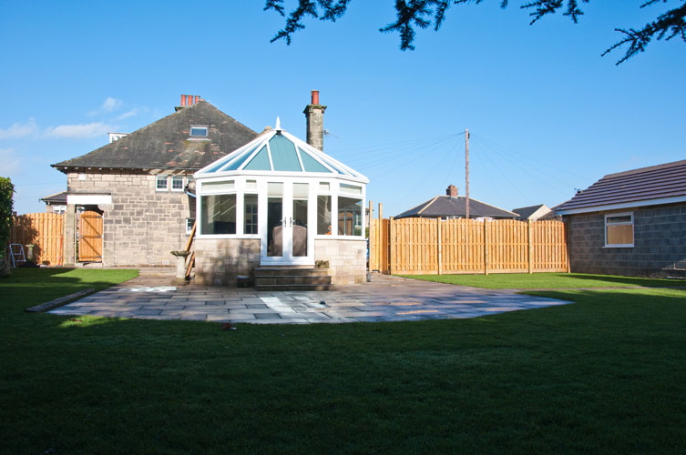 AFTER - Patio area, turfing and fencing